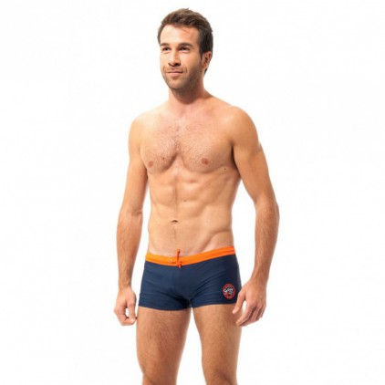 Cbk shorty boxer maillot de bain marine 20 cm ceinture orange