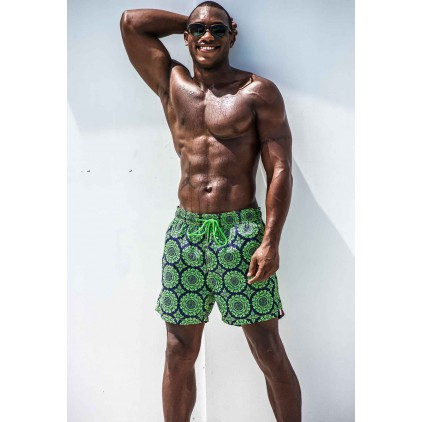 Pier st barth short de bain green beach swirls